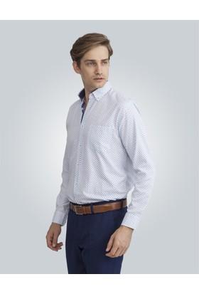 Tudors Klasik Fit Baskılı Beyaz Erkek Gömlek
