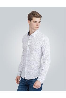 Tudors Süper Slim Fit Baskılı Beyaz Erkek Gömlek