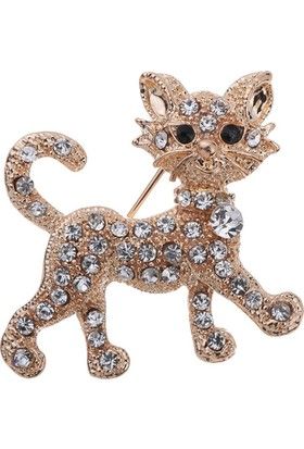 Sevimli Kedi Altın Kaplama Broş