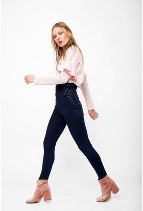 Eka Beli Bağlamalı Arkası Fermuarlı Yüksek Bel Jean