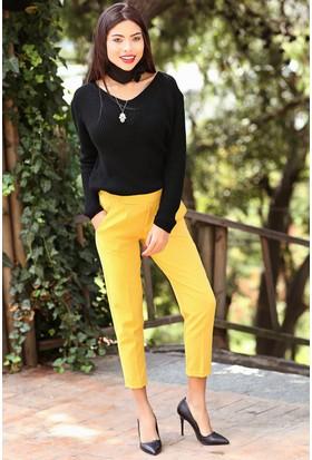 Womenice Beli Lastikli Duble Paça Pantolon Sarı