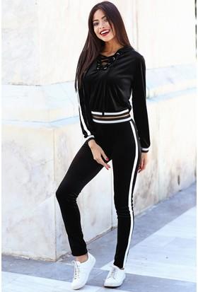 Womenice Beyaz Şerit Kadife Beli Lastikli Pantolon Siyah