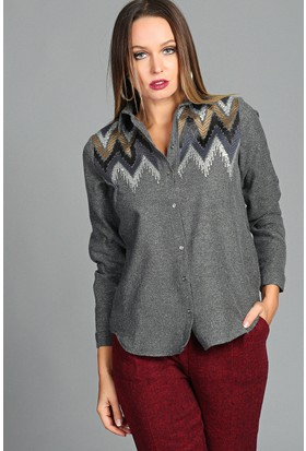 Womenice Balıksırtı Pullu Gömlek Antrasit
