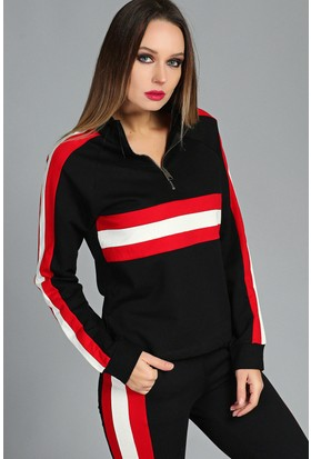 Womenice Kırmızı Beyaz Şerit Kadın Sweatshirt Siyah