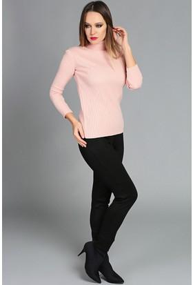 Womenice Şardonlu Tayt Pantolon Siyah