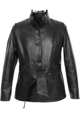 Gön Deri Kadın Ceket Siyah D3550