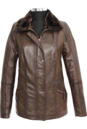 Gön Deri Kadın Ceket Taba D4520