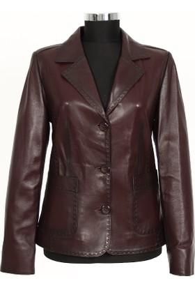 Gön Deri Kadın Ceket Bordo D4522