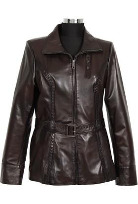 Gön Deri Kadın Ceket Koyu Kahverengi D4529