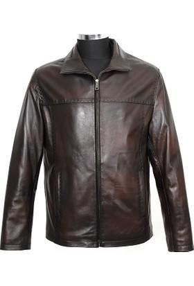 Gön Deri Erkek Ceket Koyu Kahverengi D4552