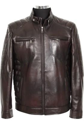 Gön Deri Erkek Ceket Koyu Kahverengi D4555