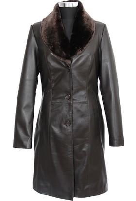 Gön Deri Kadın Trenchcoat Kahverengi D4521