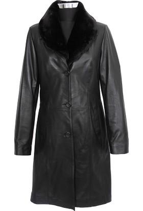 Gön Deri Kadın Trenchcoat Siyah D4521