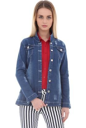 Akbaba Kadın Boyfriend Mavi Kot Ceket