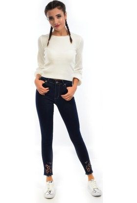 Starlife Kadın Lazerli Nakış Kot Pantolon