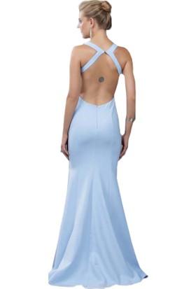 Pierre Cardin Bebe Mavi Sırt Dekolteli Uzun Abiye Elbise