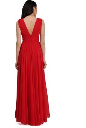 a524b0acd81f4 ... Pierre Cardin Kırmızı Şifon V Yaka Uzun Abiye Elbise ...