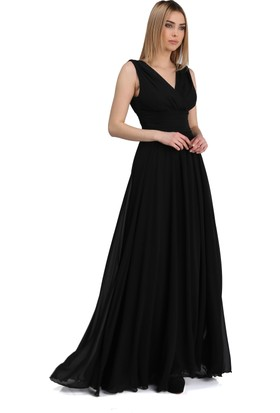 28284418005d9 ... Pierre Cardin Siyah Şifon V Yaka Uzun Abiye Elbise