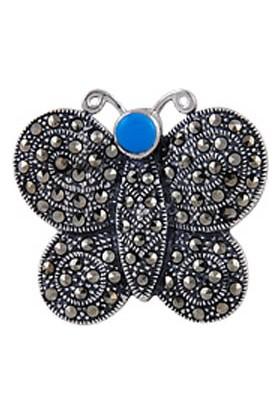 Tevuli 925 Ayar Gümüş Markazit Taşlı Broş Br01765