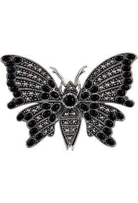 Tevuli 925 Ayar Gümüş Markazit & Akik Taşlı Kelebek Broş Br01753