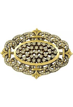 Tevuli 925 Ayar Gümüş Otantik Zirkon Taşlı Broş Br13992