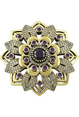 Tevuli 925 Ayar Gümüş Otantik Zirkon Taşlı Yuvarlak Broş Br09519