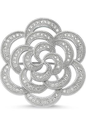 Tevuli 925 Ayar Gümüş Zirkon Taşlı Çicek Desenli Broş Br82461
