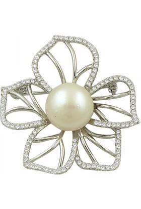 Tevuli 925 Ayar Gümüş Doğal İnci & Zirkon Taşlı Çiçek Tasarımlı Broş Br82016