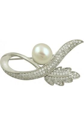 Tevuli 925 Ayar Gümüş İnci & Zirkon Taşlı Broş Br82012
