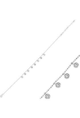 Tevuli 925 Ayar Gümüş Sallantılı Yuvarlak Zirkon Taşlı Halhal Ank82730