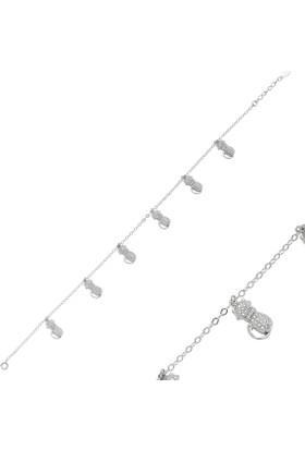 Tevuli 925 Ayar Gümüş Kedi Desenli Gümüş Halhal Ank82702