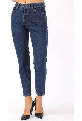 ZDN Jeans Kadın Yüksek Bel Koyu Mavi Mom Jean W868