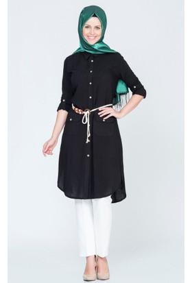Benguen Kare Cep Kapaklı Beli Kemerli Elbise 08909 Siyah