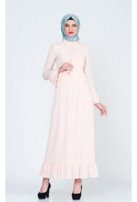 Benguen Kolu Volanli Eteği Fırfırlı Elbise 5019 Pudra