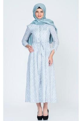 Benguen Mini Çiçekli Vual Elbise 5017 Açık Mavi