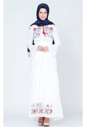 Benguen Bağcıklı Baskılı Elbise 3815 Ekru