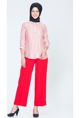 Benguen Boyuna Çizgili Gömlek 02004 Kırmızı
