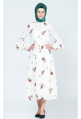Benguen Çiçekli Kuşaklı Gizli Düğmeli Tunik Elbise 4024 Ekru