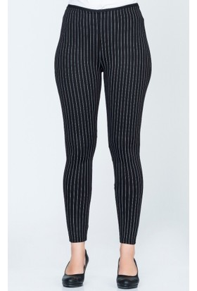 Benguen Çizgili Tayt Pantolon 09 168 Siyah