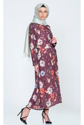Benguen Düğmeli Kemerli Elbise 5354 Bordo