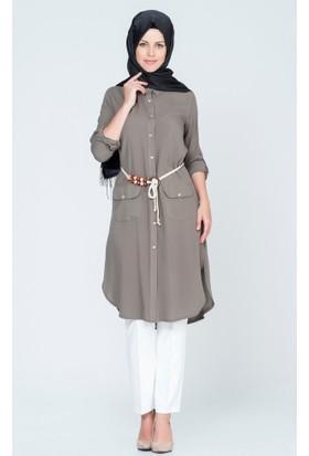Benguen Kare Cep Kapaklı Beli Kemerli Elbise 08909 Haki