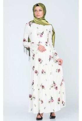 Benguen Kat Kat Bağcıklı Elbise 5012 Ekru