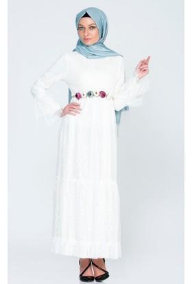 Benguen Kemerli Çiçekli Dantel Elbise 5020 Ekru