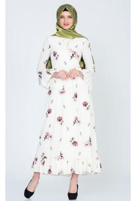 Benguen Kolu Volanli Çiçekli Elbise 5018 Ekru