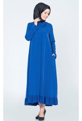 Benguen Papyonlu Etekleri Fırfırlı Elbise 4025 Saks