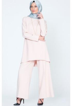 Benguen Düz Tunik Pantolon Takım 9007 Pudra