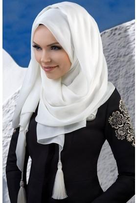 Muslima Wear Püsküllü Şal 34001 Ekru
