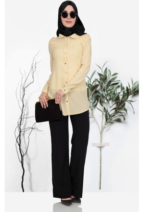 Nihan Omzu Nervül Detaylı Gömlek S3267 Sarı