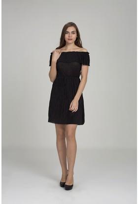 Giyimsel Kadın Siyah Volanlı Straplez Plise Elbise
