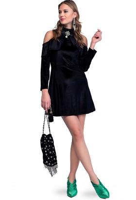 Eka Omuzları Açık Yarım Balıkçı Kadife Elbise